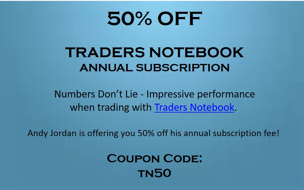 Andy Jordan is offering an annual Traders Notebook subscription for 50% off
